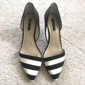 Black& White stripe Zara pumps, great condition